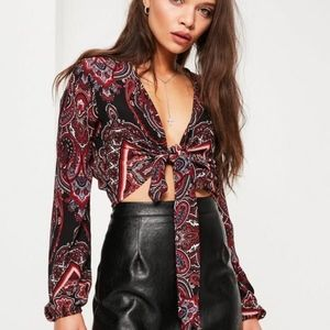 NWT Missguided Paisley Print Tie Front Crop Top